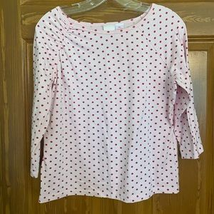 Pink and red polka dot top